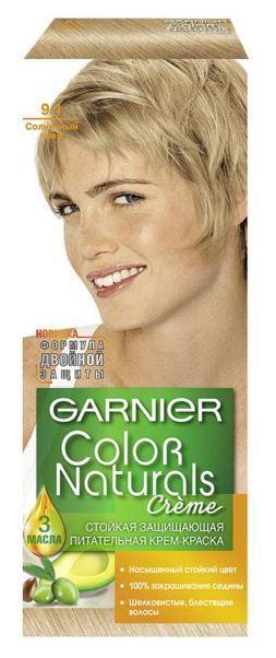 Garnier Краска для волос Color Naturals (9.1 Солнечный пляж)Краска для волос<br>Глубокое питание, насыщенный цвет, стойкость более 8 недельСпециальная формула краски для волос Garnier Color Naturals, обогащенная 3 маслами, проникает в самое сердце волоса и интенсивно питает его. Благодаря глубокому питанию волосы лучше насыщаются цветом и сохраняют его надолго. Крем-краска Гарньер Колор Нэчралс имеет кремообразную текстуру, которая легко наносится, не течет и имеет приятный аромат.<br>Результат: <br>Стойкость более 8-ми недель<br>Глубокое питание волос<br>100% закрашивание седины<br><br>Вес г: 150<br>Бренд : Garnier<br>Вид краски для волос : стойкая краска<br>Оттенок краски для волос : 9.1 Солнечный пляж