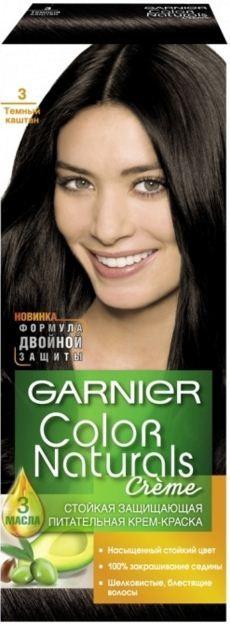 Garnier Краска для волос Color Naturals (3 Темный каштан)Краска для волос<br>Глубокое питание, насыщенный цвет, стойкость более 8 недельСпециальная формула краски для волос Garnier Color Naturals, обогащенная 3 маслами, проникает в самое сердце волоса и интенсивно питает его. Благодаря глубокому питанию волосы лучше насыщаются цветом и сохраняют его надолго. Крем-краска Гарньер Колор Нэчралс имеет кремообразную текстуру, которая легко наносится, не течет и имеет приятный аромат.<br>Результат: <br>Стойкость более 8-ми недель<br>Глубокое питание волос<br>100% закрашивание седины<br><br>Вес г: 150<br>Бренд: Garnier<br>Вид краски для волос: стойкая краска<br>Оттенок краски для волос: 3 Темный каштан