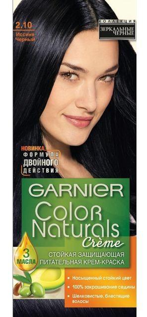 Garnier Краска для волос Color Naturals (2.10 Иссиня черный)Краска для волос<br>Глубокое питание, насыщенный цвет, стойкость более 8 недельСпециальная формула краски для волос Garnier Color Naturals, обогащенная 3 маслами, проникает в самое сердце волоса и интенсивно питает его. Благодаря глубокому питанию волосы лучше насыщаются цветом и сохраняют его надолго. Крем-краска Гарньер Колор Нэчралс имеет кремообразную текстуру, которая легко наносится, не течет и имеет приятный аромат.<br>Результат: <br>Стойкость более 8-ми недель<br>Глубокое питание волос<br>100% закрашивание седины<br><br>Вес г: 150<br>Бренд : Garnier<br>Вид краски для волос : стойкая краска<br>Оттенок краски для волос : 2.10 Иссиня черный