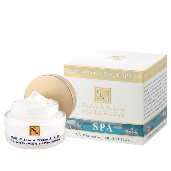 Health&amp;Beauty Крем для лица SPF20 увлажняющий мультивитаминныйHealth&amp;Beauty<br>Быстро впитывается, придавая коже свежий и сияющий вид, замедляет процессы старения. Мультивитаминный крем с SPF-20. крем с нежной бархатистой текстурой для восстановления водного баланса, повышения упругости и эластичности кожи всех типов. Быстро впитывается, придавая коже свежий и сияющий вид, замедляет процессы старения.<br><br>Вес г: 80<br>Бренд : Health &amp; Beauty<br>Объем мл: 50<br>Тип кожи : все типы кожи<br>Фактор SPF : 20<br>Консистенция : крем<br>Тип крема : увлажняющий, питательный, антивозрастной, солнцезащитный<br>Возраст : 25+, 30+, 35+, 40+<br>Эффект : лифтинг-эффект, сокращает морщины<br>По времени суток : дневной уход<br>Страна производитель : Израиль