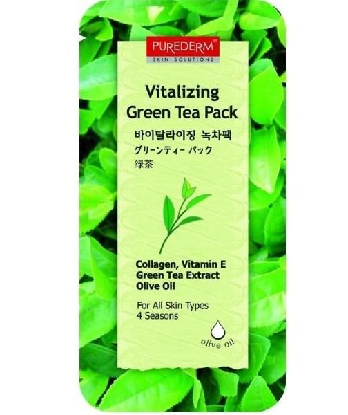 PUREDERM Маска для лица Освежающая Зеленый чайМаски для лица<br>Освежающая смываемая массажная маска содержит экстракт зеленого чая, оливковое масло. Экстракт зеленого чая освежает и повышает эластичность кожи, оливковое масло очищает и смягчает. Витамин Е и коллаген увеличивают эластичность кожи и отбеливают ее. Маска не занимает много времени, достаточно 5-10 минут, для того чтобы ваша кожа преобразилась и обрела здоровый, свежий вид.<br><br>Вес г: 15<br>Бренд : Purederm<br>Объем мл: 10<br>Тип кожи : все типы кожи<br>Консистенция маски : кремообразная<br>Часть лица : лицо<br>По времени суток : дневной уход<br>Назначение маски : увлажняющая, питательная, очищающая, отбеливающая<br>Страна производитель : Южная Корея