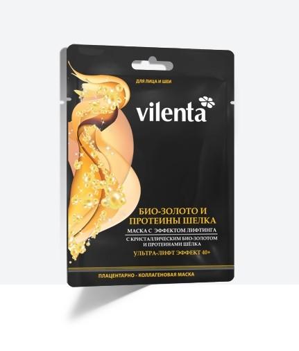 VILENTA Маска тканевая плацентарная коллагеновая Био золото и шелк+ультра лифтинг 40+Vilenta<br>Входящее в состав маски биологически активное золото, способно неустанно доставлять в глубокие слои эпидермиса питательные и увлажняющие компоненты, стимулирующие обменные процессы, восстанавливающие и укрепляющие клетки кожи. Шелковые протеины, гидролизат коллагена оказывают укрепляющее и тонизирующее действие на ткани, значительно повышают степень упругости кожи, а так же стимулируют синтез собственного коллагена. Благодаря экстракту плаценты овцы маска обладает выраженным эффектом лифтинга.<br><br>Вес г: 60<br>Бренд : Vilenta<br>Объем мл: 40<br>Тип кожи : все типы кожи<br>Консистенция маски : тканевая<br>Часть лица : лицо<br>По времени суток : дневной уход<br>Назначение маски : увлажняющая, питательная, восстанавливающая, подтягивающая<br>Страна производитель : Китай