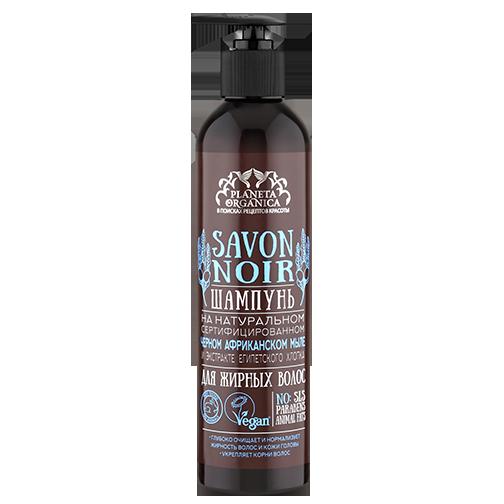 SAVON de Planeta Organica Шампунь для жирных волос Savon NOIR 400млДля волос<br>Жирные волосы нуждаются в глубоком очищении, способном полностью освободить волосяную луковицу от загрязнений. Шампунь на 100% натуральном сертифицированном черном африканском мыле великолепно справляется с обеими задачами благодаря антисептическим качествам масла черного тмина, а также высоким защитным способностям масла ши в составе мыла. Проверенная веками формула черного мыла только из натуральных компонентов дополнена в шампуне экстрактом египетского хлопка, который смягчает, заживляет, успокаивает кожу головы и защищает волосы от неблагоприятных воздействий окружающей среды. Шампунь не содержит SLS, парабенов и жиров животного происхождения.<br><br>Вес г: 430<br>Бренд : Planeta Organica<br>Объем мл: 400<br>Тип волос : жирные<br>Действие : питание<br>Тип средства для волос : шампунь<br>Страна производитель : Россия