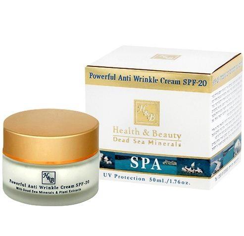 Health&amp;Beauty Крем для нормальной сухой кожи лица интенсивный от морщин SPF20Health&amp;Beauty<br>Регенерирующий крем с легкой текстурой для лица и шеи. Быстро впитывается, замедляет процессы старения кожи, насыщает кожу необходимой ей влагой, повышает ее эластичность, разглаживает морщины, подтягивает, придавая более четкий контур чертам лица. Содержит уникальный комплекс, стимулирующий выработку молекул коллагена и эластина, UV-фильтры, насыщен стабилизированными витаминами С и Е, маслом энотеры, облепиховым маслом, жирными кислотами омега -3 и -6, экстрактом зеленого чая, алоэ и минералами Мертвого моря Рекомендуется женщинам со зрелой кожей лица, нуждающейся в интенсивном уходе. Подходит для нормальной, сухой и очень сухой кожи.<br><br>Вес г: 80<br>Бренд : Health &amp; Beauty<br>Объем мл: 50<br>Тип кожи : сухая, чувствительная<br>Фактор SPF : 20<br>Консистенция : крем<br>Тип крема : увлажняющий, питательный, антивозрастной<br>Возраст : 25+, 30+, 35+, 40+<br>Эффект : эластичность, сокращает морщины<br>По времени суток : дневной уход<br>Страна производитель : Израиль