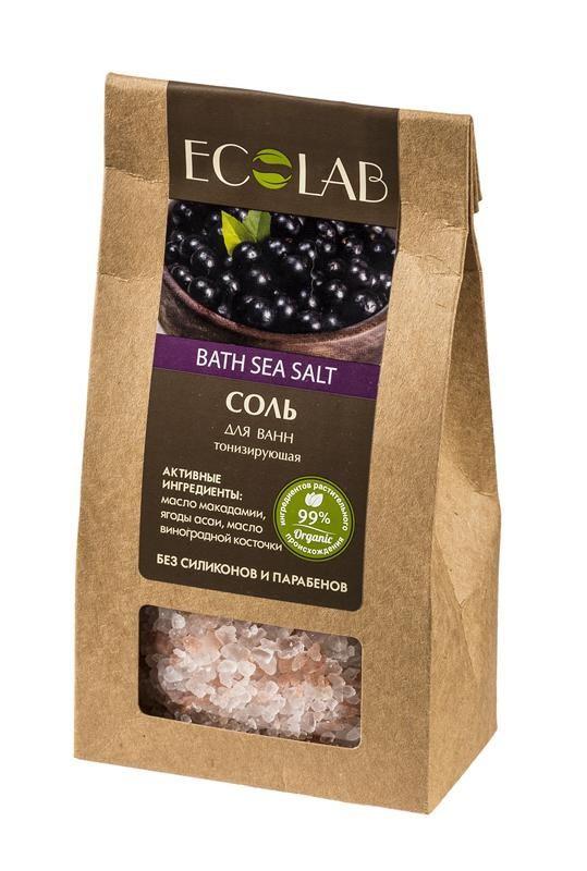 Ecolab Соль для ванны ТонизирующаяДля тела<br>Соли для ванн Эколаб содержат 99% ингредиентов растительного происхождения. Продукт не содержит парабенов и силиконов.Органическое масло макадамии<br>Способствует хорошему увлажнению и смягчению кожи, устраняет сухость и шелушение, освежает и тонизирует кожу.<br>Масло виноградной косточки обладает высокой биологической активностью, главным образом антиоксидантным и регенерирующим действием.<br>Экстракта ягод асаи помогает разрушать свободные радикалы, защищает от вредного воздействия окружающей среды и настраивает клетки кожи на регенерацию, улучшает тургор кожи.<br><br>Вес г: 400<br>Бренд: Ecolab<br>Страна производитель: Россия
