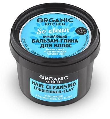 Organic shop Бальзам-глина для волос очищающий So clean!100млOrganic shop<br>Бальзам-глина глубоко очищает от загрязнений и токсинов, улучшает клеточное дыхание кожи головы. Ваши волосы обретают удивительную силу и красоту. Белая глина активизирует рост волос и насыщает их необходимыми микроэлементами, делая крепкими и упругими. Органический голубой лен питает и восстанавливает структуру волос от корней до самых кончиков. Ваши волосы мягкие, шелковистые и удивительно красивые.Способ применения: Нанесите бальзам на влажные вымытые волосы, распределите равномерно по всей длине, оставьте на 1-2 минуты, смойте водой.Объем: 100 мл.<br><br>Вес г: 130<br>Бренд: Organic shop<br>Объем мл: 100<br>Тип волос: все типы волос<br>Действие: питание, восстановление, для роста волос, глубокое очищение<br>Тип средства для волос: бальзам<br>Страна производитель: Россия