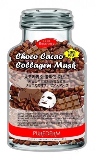 PUREDERM Маска тканевая коллагеновая с маслом какао для всех типов кожи 1штМаски для лица<br>Маска на тканевой основе содержит специальную формулу с экстрактом Какао, которое прекрасно увлажняет, тонизирует и смягчает и питает кожу, помогает вернуть коже эластичность. Какао богато микроэлементами и незаменимыми жирными кислотами. Входящий в состав Фитоколлаген и Витамин Е оказывают омолаживающее действие. Маска с экстрактом Какао идеально подходит для всех типов кожи.<br><br>Вес г: 25<br>Бренд : Purederm<br>Объем мл: 18<br>Тип кожи : все типы кожи<br>Консистенция маски : тканевая<br>Часть лица : лицо<br>По времени суток : дневной уход<br>Назначение маски : увлажняющая, питательная, омолаживающая<br>Страна производитель : Южная Корея