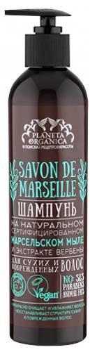 SAVON de Planeta Organica Шампунь для сухих поврежденных волос Savon de MARSEILLE 400млДля волос<br>Шампунь, созданный на основе натурального сертифицированного марсельского мыла, идеально подходит для сухих и поврежденных волос, нуждающихся в бережном очищении, увлажнении и восстановлении. Секрет особой мягкости шампуня в его основе - марсельском мыле и морской воде, которую, согласно старинному французскому рецепту, добавляли в оливковое масло при варке мыла. Обогащеный морскими минералами шампунь не содержит SLS, парабенов и жиров животного происхожденя, что подтверждено международным сертификатом VEGAN. Экстракт вербены возвращает поврежденные волосы к жизни, даря им красоту и здоровье.<br><br>Вес г: 430<br>Бренд : Planeta Organica<br>Объем мл: 400<br>Тип волос : сухие, окрашенные<br>Действие : увлажнение, восстановление<br>Тип средства для волос : шампунь<br>Страна производитель : Россия