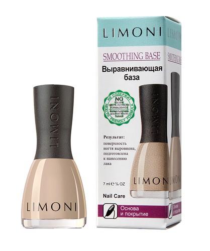 Limoni Основа и покрытие Smoothing Base Выравнивающая база (в коробочке)Средства для ногтей<br>Средство, содержащие высокую концентрацию минералов, позволяет скрыть неровности на ногтях и придать им ухоженный вид. Визуально делает ногтевую пластину ровной и подготавливает ее для идеального нанесения декоративного лака. Текстура средства Limoni легко наносится и быстро сохнет, формируя прочное защитное покрытие, предотвращающее ломкость ногтей.<br>Способ применения: В качестве базы нанесите один слой и дайте высохнуть. <br><br><br><br><br><br>Объем: 7 мл.<br><br>Вес г: 50<br>Бренд : Limoni<br>Тип средства для ногтей : основа под лак, укрепление ногтей