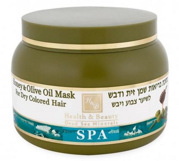 Health&amp;Beauty Маска для сухих окрашенных волос с Оливковым маслом и МедомHealth&amp;Beauty<br>Сочетание компонентов маски обеспечивает быстрое и заметное улучшение качества волос, увлажняет, питает и  восстанавливает  их структуру. Изготовленная на  основе  воды  Мёртвого  моря, маска  содержит  большое  количество  минералов,  высокую концентрацию оливкового масла и меда, гидролизат шелка и протеины пшеницы. Oбогащена витаминами и активными минералами Мертвого моря.<br><br>Вес г: 300<br>Бренд : Health &amp; Beauty<br>Объем мл: 250<br>Тип волос : сухие, окрашенные<br>Действие : увлажнение, питание, укрепление, восстановление<br>Тип средства для волос : маска<br>Страна производитель : Израиль