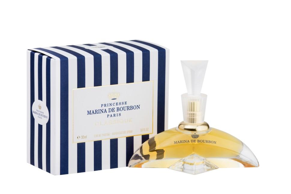 Princesse Marina De Bourbon Paris Classique Парфюмерная вода 30 млMarina De Bourbon<br>Руководство по выбору:<br>При выборе обратите внимание на вид аромата и ноты, прислушайтесь к своим эмоциям.<br>Описание:<br>ФЛАКОН: Яркий и изысканный дизайн флакона, чьи плавные линии переливаются как изгибы женского тела. Флакон напоминает бальные платье 18-го века с подчеркнутой тонкой талией. АРОМАТ: Нежный, элегантный и непредсказуемый аромат. Marina de Bourbon Classique пробуждает желание познакомиться с его обладательницей. Аромат на века как оружие обольщения. Едва появившись, этот парфюм в светских кругах негласно был признан парфюмерной классикой. Оригинальная свежесть заточена в прозрачное облако листьев черной смородины и сладкого аромата Дыни. Аромат перенесет вас в экзотический мир, которому задает тон Иланг-Иланг родом с Коморских островов, Маракуйя и Жасмин. В этот букету также мягко введены Персик, Малина и драгоценная Ваниль, привносящая чувственность.<br>Мнение эксперта:<br>Marina Classique - символ хорошего вкуса и вневременной элегантности Принцесса Швеции Мадлен<br>Особенности состава:<br>Цветочно, фруктовый, восточный аромат<br>Состав:<br>Состав: ALCOHOL DENAT. , PARFUM (FRAGRANCE), AQUA (WATER), AMYL CINNAMAL, BENZYL BENZOATE, BENZYL SALICYTATE, BUTYLPHENYL METHYLPROPIONAL, CINNAMYL ALCOHOL, CITRONELLOL, COUMARIN, EUGENOL, GERANIOL, HEXYL CINNAMAL, HYDROXYCITRONELLAL, ISOEUGENOL, LIMONENE, LINALOOL, CI 19140 (YELLOW 5), CI 14700 (RED 4), CI 17200 (RED 33)<br><br>Вес г: 185<br>Бренд : Marina de Bourbon<br>Объем мл: 30<br>Возраст : 14+<br>Страна производитель : Франция<br>Вид Аромата : Цветочно-фруктовый<br>Шлейф : Персик, малина, ваниль, экзотические фрукты<br>Верхняя Нота : Лимон, арбуз, черная смородина<br>Верхняя Нота : Лимон, арбуз, черная смородина