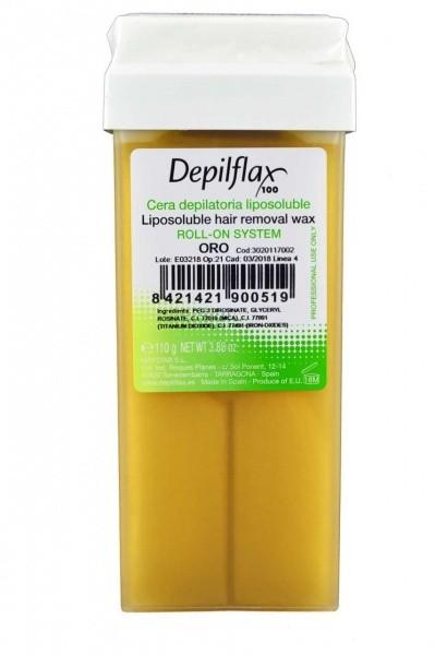 Depilflax Воск в картридже ЗОЛОТОЙ успокаивающий для всех типов кожиDepilflax<br>Воск подходит для всех типов кожи. В составе присутствуют золотые частицы, благодаря которым, воск сохраняет температуру. Имеет плотную консистенцию и хорошо прилипает к волоскам, что облегчает процесс депиляции. Хорошо увлажняет кожу. Активные ингредиенты: Экстракт масла оливы, смола Эстер с глицерином, смола Эстер с трителенгиколем, антиоксиданты.Полный размер картриджа (ШхДхВ): 20Х50Х130 мм. Размер помещаемой в воскоплав части(ШхДхВ): 20Х50Х110 мм. Размер ролика: 15х45 мм.<br><br>Вес г: 200<br>Бренд: Depilflax<br>Тип кожи: все типы кожи<br>Тип средства для депиляции: воск в картридже, воск