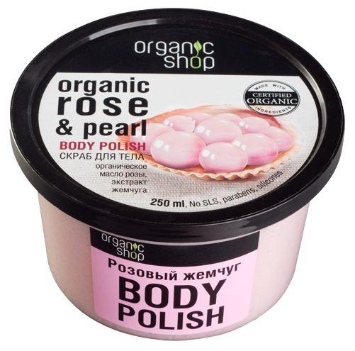 Organic shop скраб для тела розовый жемчуг 250 млOrganic shop<br>Королевское сочетание органического масла розы и экстракта жемчуга позволяет моментально восстановить и обновить вашу кожу, придавая ей эластичность и тонус.Использование: Нанести на влажную кожу легкими массирующиими движениями, смыть водой.Ингредиенты (INCI): Sodium Chloride, Organic Rosa Damascena Oil (органическое масло розы), Pearl Extract (экстракт жемчуга), Butyrospermum Parkii (органическое масло ши), Aqua, Cetearyl Alcohol, Cocamidopropyl Betaine (из кокосового масла), Glycerin, Parfum.Объем: 250 мл.<br><br>Вес г: 280<br>Бренд : Organic shop<br>Объем мл: 250<br>Страна производитель : Россия
