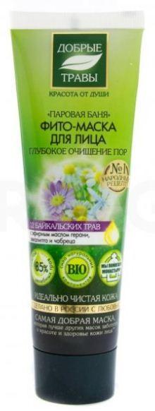 Добрые травы Маска для лица паровая баня 75 мл.Добрые травы<br>Фито-маска для лица «Паровая баня» раскрывает и очищает поры, способствует глубокому питанию и увлажнению кожи. Входящий в ее состав сбор 12 байкальских трав насыщает витаминами и питательными веществами, тонизирует и оздоравливает кожу.Эфирное масло герани и эвкалипта оказывают антисептическое и противовоспалительное действия, эффективно очищают поры и выводят токсины. Эфирное масло чабреца повышает защитные функции кожи и предотвращает негативное влияние окружающей среды.Состав: Aqua with infusions of Bidens Tripartita Flower/Leaf/Stem Extract, Achillea Millefolium Flower Water, Hypericum Perforatum Extract, Arctostaphylos Uva Ursi Leaf Extract (травяной настой), Lippia Citriodora Flower Water (василек)*, Diplazium Sibiricum Extract (папоротник)*, Melilotus Albus Flower/Leaf/Stem Extract (донник белый)*, Dracocephalum Moldavica Flower/Leaf/Stem Water (змееголовник)*, Calendula Officinalis Flower Extract (календула)*, Urtica Dioica Extract (крапива)*, Cortusa Sibirica Extract (кортуза)*, Spiraea Ulmaria Extract (лабазник)*, Chamomilla Recutita Flower Water (ромашка)*, Salvia Officinalis Leaf Water (шалфей)*, Festuca Altaica Extract (овсяница)*, Agrostis Sibirica Extract (полевица)*; Butyrospermum Parkii Butter, Caprylic/Capric Triglyceride, Cetearyl Alcohol, Glycerin, Sodium Cetearyl Sulfate, Sodium Carbomer, Xanthan Gum, Tocopheryl Acetate, Eucalyctus Globulus Leaf Oil (эфирное масло эвкалипта), Pelargonium Graveolens Oil (эфирное масло герани), Thymus Vulgaris Oil (эфирное масло чабреца), Benzyl Alcohol, Benzoic Acid, Sorbic Acid, Citric Acid, Parfum.Объем: 75 мл.<br><br>Вес г: 100<br>Бренд : Добрые травы<br>Объем мл: 75<br>Тип кожи : все типы кожи<br>Консистенция маски : кремообразная<br>Часть лица : лицо<br>По времени суток : дневной уход<br>Назначение маски : увлажняющая, питательная, очищающая, противовоспалительная<br>Страна производитель : Россия
