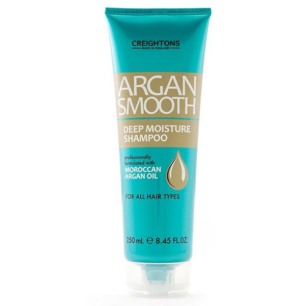 CREIGHTONS Шампунь для глубокого увлажнения волос с аргановый масломCreightons<br>Глубоко питает волосы, делая их мягкими и блестящими. Увлажняет и защищает волосы каждый день. Подходит для всех типов волос. На протяжении столетий масло Арганы считается чудо действенным компонентом в составе продуктов по уходу за здоровьем и красотой. Получаемое из ядра Марокканского Арганового дерева, это масло, обогащенное природными антиоксидантами, приносит огромную пользу волосам, коже и ногтям.<br>Профессионалы компании Creightons собрали всю природную силу Марокканского Арганового масла и воплотили ее в линии Argan Smooth, которая специально разработана для ежедневного питания и оздоровления волос. Обогащенная маслом Арганы она глубоко питает и увлажняет волосы от корней до самых кончиков, придавая вашей прическе ухоженный, салонный вид.<br><br>Вес г: 280<br>Бренд : Creightons<br>Объем мл: 250<br>Тип волос : все типы волос<br>Действие : увлажнение, питание<br>Тип средства для волос : шампунь<br>Страна производитель : Великобритания