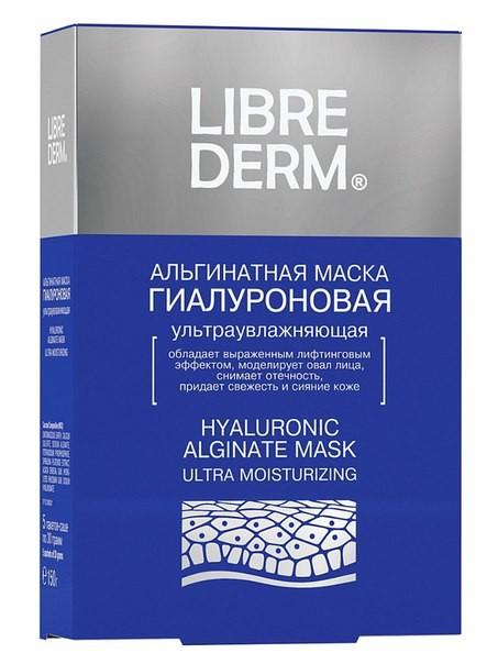 LIBREDERM Гиалуроновая маска ультраувлажняющая альгинатная №5Librederm<br>Мгновенное преображение кожи. Маска увлажняет, обладает выраженным лифтинговым эффектом, моделирует овал лица, снимает отечность, придает свежесть и сияние коже.Альгинатные маски:<br>— обладают увлажняющим эффектом, восстанавливают водный баланс,<br>— оказывают лифтинговый эффект – коррекцию овала лица, разглаживают морщины, уменьшают поры<br>— повышают тонус и эластичность кожи<br>— обладают детоксицирующим действием – «снимают» следы усталости, улучшают цвет лица<br>— насыщают кожу микроэлементами<br><br>Вес г: 45<br>Бренд : Librederm<br>Объем мл: 30<br>Тип кожи : все типы кожи<br>Консистенция маски : грязевая/глиняная<br>Часть лица : лицо<br>По времени суток : дневной уход<br>Назначение маски : увлажняющая, омолаживающая, подтягивающая, выравнивающая<br>Страна производитель : Россия