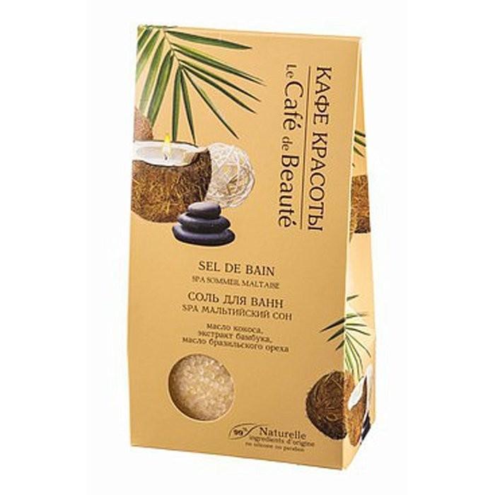 Кафе Красоты Соль для ванн Мальтийский сон 400грКафе красоты<br>Морская соль для ванн SPA Мальтийский сон с маслом <br>нероли, экстрактом граната и маслом виноградной косточки поможет <br>расслабиться и насладиться SPA процедурами не выходя из дома! Активные <br>компоненты оказывают необходимый уход, омолаживают и разглаживают кожу, <br>делая ее гладкой и сияющей. Легкий фруктово-цветочный аромат создаст <br>беззаботную атмосферу отдыха на морском побережье, поможет расслабиться и<br> окунуться в мир фантазий. Активные компоненты:Масло Нероли обладает омолаживающим и регенерирующим свойствами.Экстракт Граната и масло Виноградной косточки глубоко питают кожу, разглаживают, делает более упругой и эластичной.Способ применения: Растворить 4 столовые<br> ложки во всем объеме ванны при температуре 35-38°С, рекомендуемая <br>продолжительность приема ванны 10-15 мин.Состав: <br>Maris Sal (Sea Salt) <br>(Морская Соль), Bambusa (Bamboo) extract (экстракт Бамбука), Cocos <br>Nucifera (Cocos) Oil (масло Кокоса), Perfume, Bertholletia Excelsa Seed <br>(Brazil nut) Oil (масло Бразильского ореха), CI 75300.<br><br>Вес г: 400<br>Бренд : Кафе Красоты<br>Страна производитель : Россия