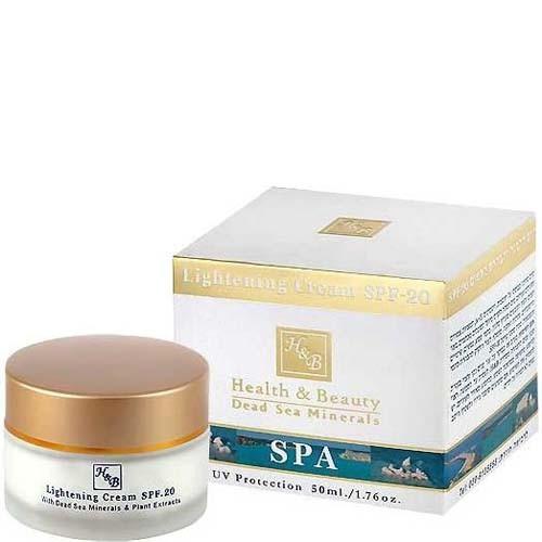 Health&amp;Beauty Крем для лица отбеливающий для кожи с пигментными пятнами SPF20Health&amp;Beauty<br>Концентрированный крем, разработанный на базе активных минералов Мертвого моря, витаминов А, Е и С, натуральных экстрактов и растительных кислот, усиливающих отбеливающий эффект крема. Успокаивает кожные покровы, разглаживает морщины, способствует выработке эластина и коллагена, обеспечивая тем самым упругость кожи. Рекомендуется женщинам с пигментными пятнами на коже лица, вызванными избытком меланина, воздействием солнечных лучей, гормональными изменениями или приемом лекарств, а также с веснушками и со следами акне на лице.<br><br>Вес г: 80<br>Бренд : Health &amp; Beauty<br>Объем мл: 50<br>Тип кожи : все типы кожи<br>Фактор SPF : 20<br>Консистенция : крем<br>Тип крема : увлажняющий, солнцезащитный<br>Возраст : до 25, 25+, 30+, 35+, 40+, 45+<br>Эффект : осветляющий<br>По времени суток : дневной уход<br>Страна производитель : Израиль