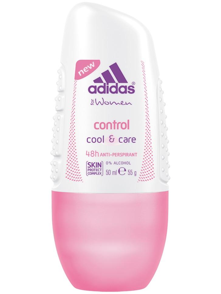 Adidas Anti-perspirant Roll-Ons Female Роликовый антиперспирант 50 мл controlAdidas<br>Adidas cool &amp;amp; care control 48ч антиперспирант ролик для женщин. Прошел дерматологическое тестирование - Не содержит спирт - Быстро сохнет. Минимизирует появление белых пятен на коже и одежде. [SKIN PROTECT COMPLEX] - Комплекс Защиты Кожи.<br>Состав:<br>Вода, алюминия хлорогидрат,ппг-15 стеарил эфир,стеарет-2, стеарет-20,аллантоин, гексил цинамаль, лимонен, линалол, циклопенталсилоксан , экстрат синегальской акации, этилгексилглицерин, силика диметилсилилат, ароматизатор.<br><br>Вес г: 114<br>Бренд : Adidas<br>Объем мл: 50<br>Тип дезодоранта : шариковый<br>Страна производитель : Испания