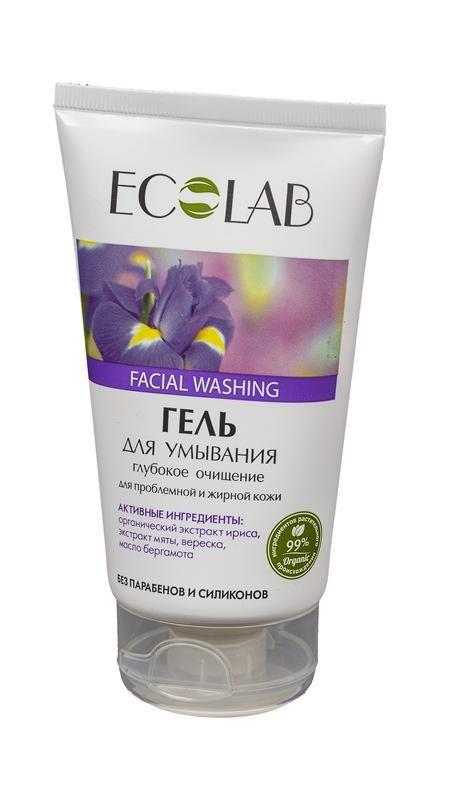 Ecolab Гель для умывания Глубокое очищение для проблемной жирной кожиГели и пенки<br>Гель для умывания Ecolab содержит 99% ингредиентов растительного происхождения.<br>Входящий в состав органический экстракт ириса оказывает очищающее, увлажняющее и противовоспалительное действие, успокаивает, снимает раздражение, сужает поры, повышает и поддерживает эластичность кожи. Экстракт вереска – мощный антиоксидант, смягчает и увлажняет кожу. Экстракт мяты тонизирует и успокаивает кожу, повышает защитные функции эпидермиса. Масло бергамота - противовоспалительное и антисептическое средство.<br>Продукт не содержит парабенов и силиконов.Способ применения:Нанести небольшое количество геля на влажную кожу лица массажными движениями, затем смыть теплой водой. Для наружного применения<br><br>Вес г: 170<br>Бренд : Ecolab<br>Объем мл: 150<br>Тип кожи : комбинированная, жирная, проблемная<br>Вид очищающего средства : гель<br>Страна производитель : Россия