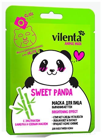 VILENTA ANIMAL MASK Маска тканевая для лица SWEET PANDA восстанавливающаяVilenta<br>Маска выравнивает тон кожи. Содержит экстракт Бамбука и Соевое масло.Эта маска одолжила много свойств у панды: Любовь к чистоте. Экстракт из сердцевины Бамбуковых стеблей стимулирует процессы очищения и детоксикации эпидермиса, повышает тонус, упругость и эластичность кожи.Заботливость. Комплексом витаминов А, В, С, Е оказывает глубокое восстанавливающее действие. Тщательно и надежно ухаживает за Вашей кожей.Доброта. Соевое масло придает мягкость и гладкость. Дарит коже воздушность и помогает «сиять изнутри».Позитив. Дизайн маски поднимает настроение и Вам и окружающим.Тип кожи: Для всех типов кожиПреимущества: Маска стирает следы усталости, питает, выравнивает тон кожи, а забавный принт в миг поднимает настроение.Результат: Здоровая красивая кожа и хорошее настроение<br><br>Вес г: 50<br>Бренд: Vilenta<br>Объем мл: 30<br>Тип кожи: все типы кожи<br>Консистенция маски: тканевая<br>Часть лица: лицо<br>По времени суток: дневной уход<br>Назначение маски: питательная, восстанавливающая, выравнивающая<br>Страна производитель: Китай