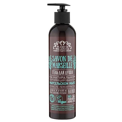 SAVON de Planeta Organica Гель для душа для сухой обезвоженной кожи Savon de CLEOPATRA 400млДля тела<br>Гель для душа на натуральном сертифицированном марсельском мыле подарит коже деликатное очищение и комфорт, основанный на тщательно подобранных увлажняющих и питающих кожу компонентах.Не содержит SLS, парабенов и жиров животного происхождения, что подтверждено международным сертификатом VEGAN.<br><br>Вес г: 430<br>Бренд : Planeta Organica<br>Объем мл: 400<br>Страна производитель : Россия