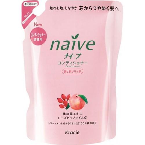 KANEBO NAIVE Кондиционер ЗАПАСКА для сухих волос персик+шиповник, 400млKANEBO<br>Благодаря моющим компонентам 100% растительного происхождения, шампунь не раздражает кожу головы, мягко моет волосы, придает им блеск и силу. Гликозилтрегалоза (увлажняющее вещество аминокислотной группы) в сочетании с растительными экстрактами глубоко увлажняет волосы, предотвращая ломкость и секущиеся кончики. Экстракт из листьев и мякоти плодов персикового дерева питает волосы, защищает от пересушивания, увлажняет и смягчает кожу головы. Масло шиповника делает волосы блестящими и гладкими. Экологические преимущества бальзама-ополаскивателя Восстанавливающего Персик и Шиповник (запаска) Kanebo Naive: не содержит SLS, парабенов, с использованием натуральных и органических ингредиентов.<br><br>Вес г: 430<br>Бренд: Kanebo<br>Объем мл: 400<br>Тип волос: сухие<br>Действие: увлажнение, питание<br>Тип средства для волос: кондиционер<br>Страна производитель: Япония