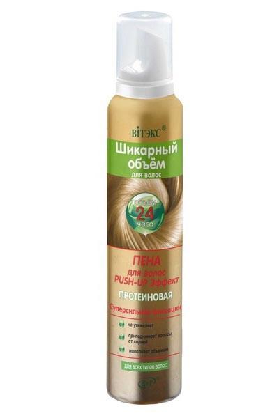 Витэкс Пена для волос Push-up суперсильной фиксацииВитэкс<br>ПЕНА для волос Push-up Эффект от Витэкс<br>Волосы наполняются великолепным объемом от самых корней. Пена позволяет легко создать желаемую укладку и при этом эффективно защищает волосы от сухости и ломкости.<br>Сильная фиксация без утяжеления и до 100% больше объема.<br>Push-up эффект у корней, упругая и надежная фиксация укладки — 24 часа.<br><br>Вес г: 220<br>Бренд : Витэкс<br>Объем мл: 200<br>Тип волос : все типы волос<br>Страна производитель : Белоруссия<br>Средство стайлинга : мусс<br>Степень фиксации : сильная, сверхсильная<br>Эффект стайлинга : объем