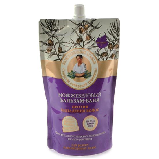 Рецепты Б.Агафьи Бальзам-баня для волос можжевеловый Дойпак 500 мл.Рецепты Бабушки Агафьи<br>Можжевеловый бальзам-баня оздоравливает волосы и кожу головы, насыщает витаминами и облегчает расчесывание. Благодаря уникальной формуле бальзам обладает банным эффектом, раскрывая чешуйки волос и обеспечивая глубокое проникновение активных природных компонентов. Масло сибирского кедра восстанавливает волосы по всей длине, улучшает расчесывание и придает естественный блеск. Масло дикого даурского можжевельника наполняет живительной влагой, стимулирует рост крепких и здоровых волос. Масло репейника питает волосяные луковицы и препятствует выпадению, насыщая волосы необходимыми микроэлементами. Экстракт чёрной мяты обогащен витаминами С и Р, тонизирует кожу головы и придает волосам свежесть надолго.<br><br>Вес г: 550<br>Бренд: Рецепты Б.Агафьи<br>Объем мл: 500<br>Тип волос: тонкие и ослабленные<br>Действие: питание, восстановление, легкое расчесывание, блеск и эластичность, от выпадения волос, для роста волос<br>Тип средства для волос: бальзам<br>Страна производитель: Россия