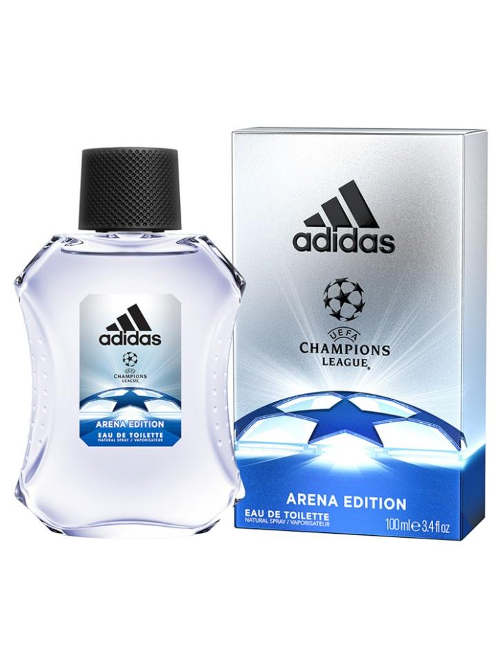 Adidas Arena Туалетная вода для мужчин 100 млAdidas<br>Мужественный и одновременно изысканный аромат создан для настоящих Чемпионов. Как только мяч попадает в игру, стадион охватывает возбуждение, словно передавая его энергетику, парфюм раскрывается свежими нотами бергамота, яблока и розмарина. Словно разгар матча, ноты сердца раскрываются утонченной смесью герани и жасмина, который сменяется острым кориандром, что придает звучанию мужественности. Чем ближе финал игры, тем сильнее накал страстей, что, как нельзя лучше, отражено в шлейфе звучанием бобов тонка, пачули и чувственного мускуса.<br>Состав:<br>Денатурат, вода, ароматизатор, этилгексил метоксициннамат, акрилаты/актилакриламид кополимер, бензофенон-3, этилгексил салицилат, бутил мотоксидибензолметан, цитраль, масло жожоба, BHT, CL60730, CL19140, CI 42090.<br><br>Вес г: 317<br>Бренд : Adidas<br>Объем мл: 100<br>Страна производитель : Испания<br>Вид Аромата : восточный фужерный<br>Шлейф : бобы тонка, пачули, мускус<br>Верхняя Нота : бергамот, зеленое яблоко, розмарин ЗЕЛЕНОЕ ЯБЛОКО<br>Верхняя Нота : бергамот, зеленое яблоко, розмарин ЗЕЛЕНОЕ ЯБЛОКО