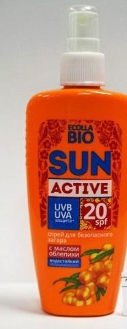 БИОКОН СОЛНЦЕ Ecolla-BIO SUN Activ спрей для безоп.загара SPF-20  120мл