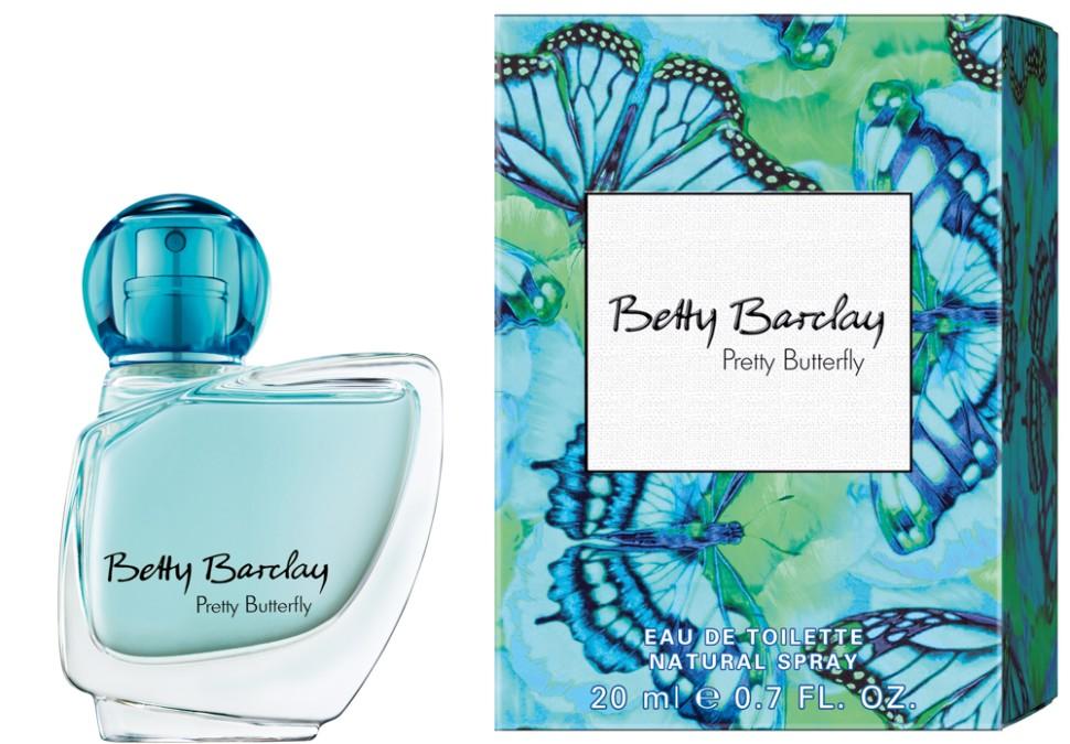 Betty Barclay Pretty Butterfly Туалетная вода 20 млBetty Barclay<br>Betty Barclay Pretty Butterfly - идеальный аромат для чувственных и уверенных в себе женщин в возрасте от 20 до 49, чья жизнь наполнена счастьем.<br>Мнение эксперта:<br>Девушка должна быть как бабочка. Приятно увидеть, трудно поймать<br>Состав:<br>Состав: : ALCOHOL, WATER (AQUA), FRAGRANCE (PARFUM), LIMONENE, BUTYLPHENYL METHYLPROPIONAL, LINALOOL, BENZYL SALICYLATE, BENZYL ALCOHOL, CITRONELLOL, ALPHA-ISOMETHYL IONONE, GERANIOL, ETHYLHEXYL METHOXYCINNAMATE, BUTYL METHOXYDIBENZOYLMETHANE, ETHYLHEXYL SALICYLATE, CITRAL, ISOEUGENOL, AMYL CINNAMAL, FARNESOL, HEXYL CINNAMAL, BHT, GREEN 3 (CI 42053), EXT. VIOLET 2 (CI 60730)<br><br>Вес г: 118<br>Бренд : Betty Barclay<br>Объем мл: 20<br>Возраст : 20+<br>Страна производитель : Германия<br>Вид Аромата : Цветочный<br>Шлейф : амбретта, розовое дерево, белый пачули<br>Верхняя Нота : Ежевика, маракуйя, лимон<br>Верхняя Нота : Ежевика, маракуйя, лимон