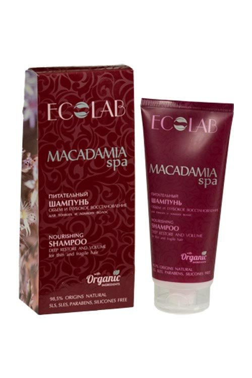 Ecolab MACADAMIA SPA Питательный шампунь для волос Объем и Глубокое восстановление для тонких и ломких волос