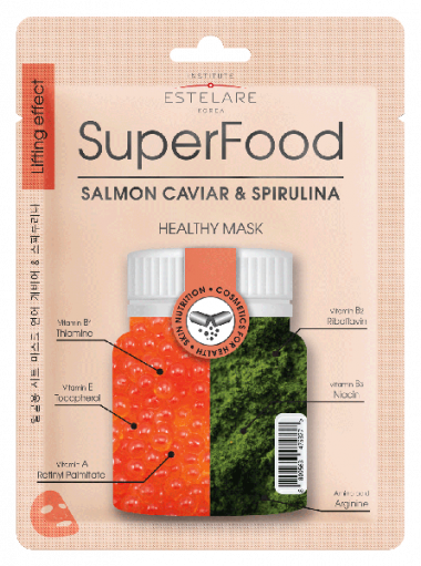 Estelare Superfood Маска тканевая для лица Икра Лосося и Спирулина 25 гр — Makeup market