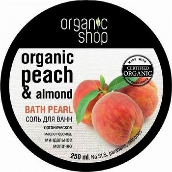 Organic shop Соль для ванн жемчужная Миндальный персик