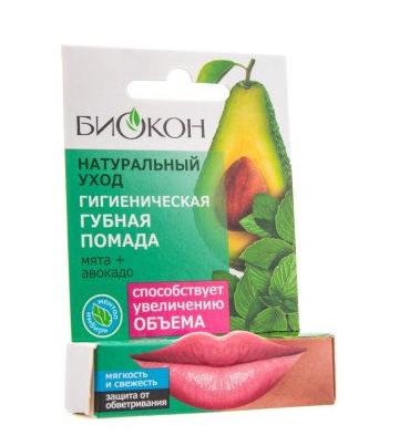 БИОКОН Натуральный Уход Помада губная гигиеническая Мята+Авакадо 4,6гр