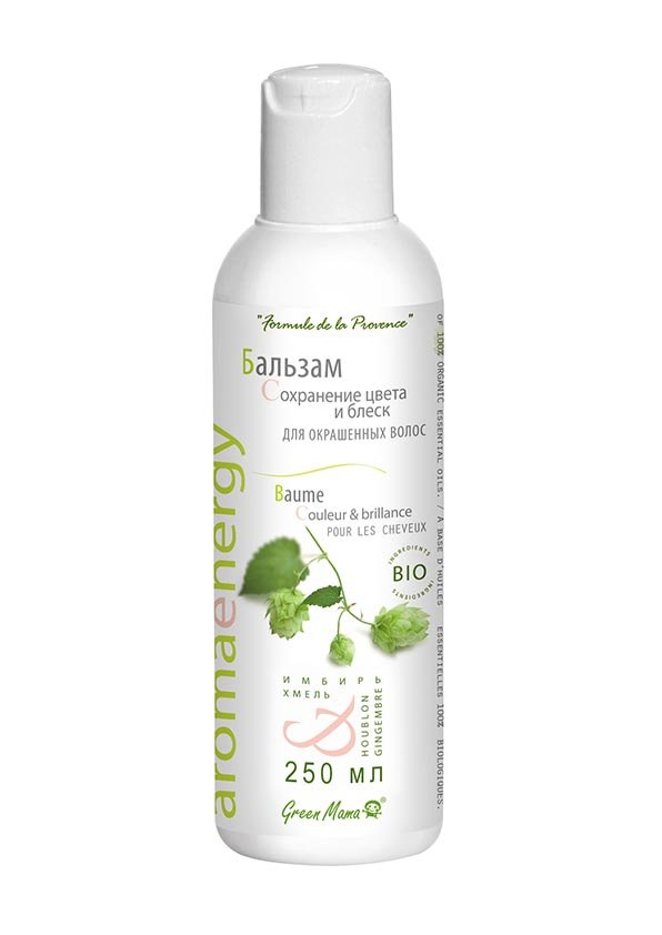 Green Mama Бальзам Сохранение цвета и блеск для окрашенных волос Имбирь и хмель BIO