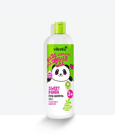 VILENTA ANIMAL Гель для душа+шампунь 2в1 Sweet Panda с Арбузом и Ананасом 400мл (Vilenta)
