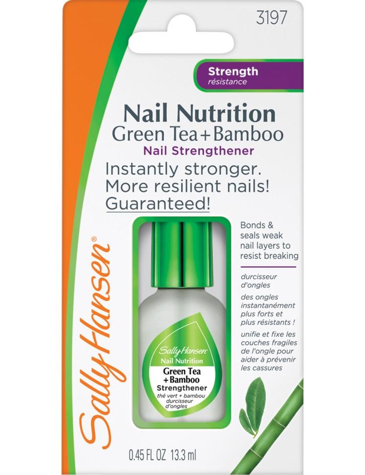 Sally Hansen Nailcare Ср-во для укрепления слабых хрупких ногтей 2 в 1: база и верхнее покрытие nail nutrition green tea+bamboo nail st