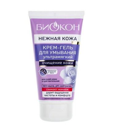 БИОКОН ОСНОВНОЙ УХОД Нежная кожа Гель-крем ультра-мягкий для умывания сухой и чувствительной кожи 150мл (Биокон)