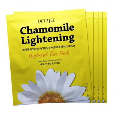 Petitfee Маска с экстрактом ромашки Chamomile lightening hydrogel face mask 32 г 5 шт упаковка — Makeup market