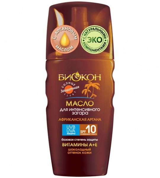 БИОКОН СОЛНЦЕ ЗАЩИТА Масло-спрей для интенсивного загара SPF-10 с Африканская аргана шоколадный оттенок (Биокон)